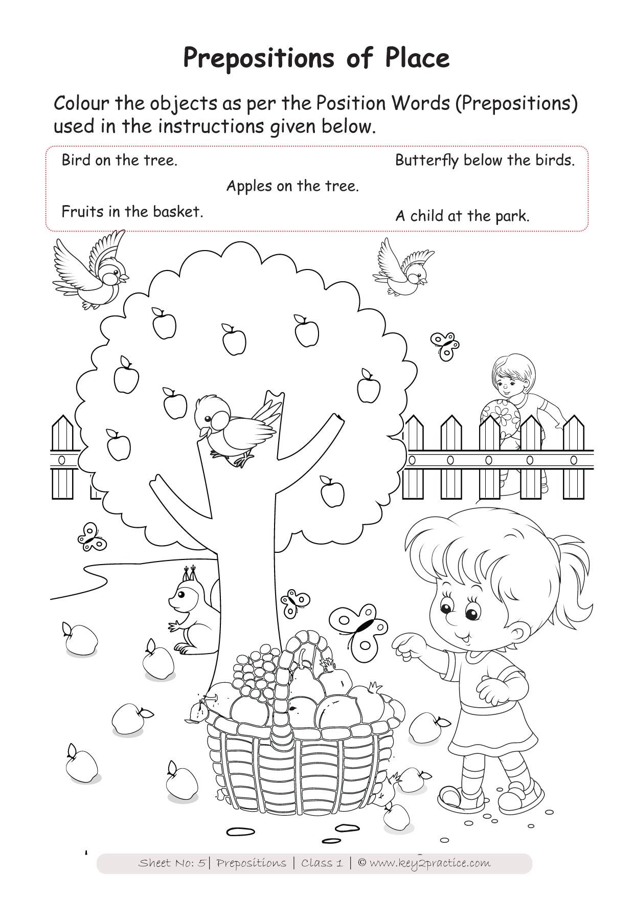 English Worksheets Grade 1 I Prepositions - key2practice ...