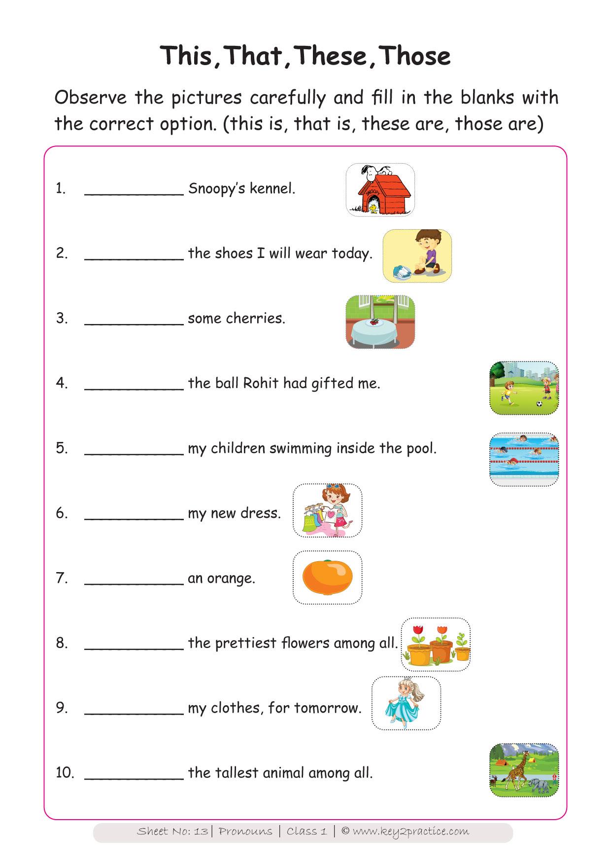 English Worksheets Grade 1 workbook on Pronouns - key2practice