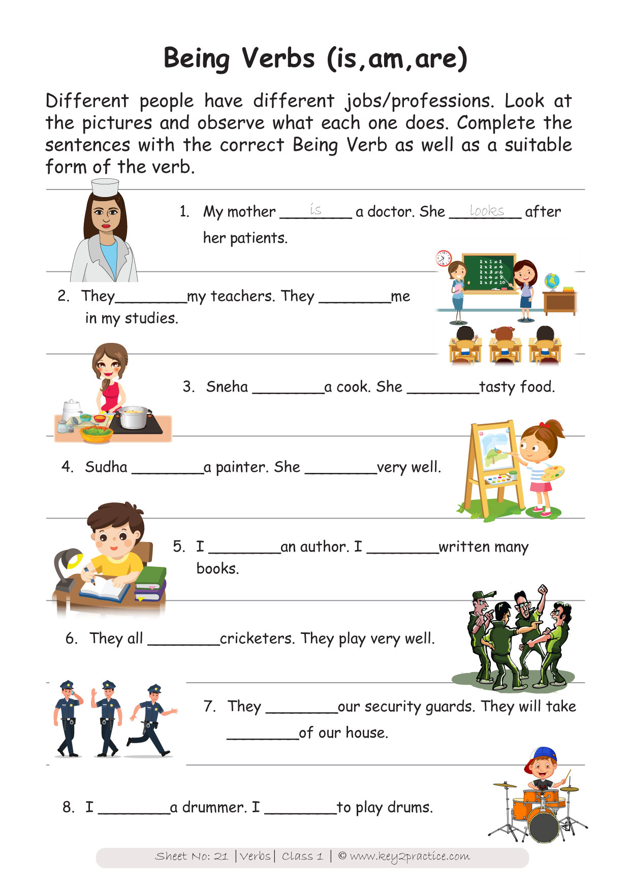 English Worksheets Grade 1 Chapter Verbs - key2practice ...