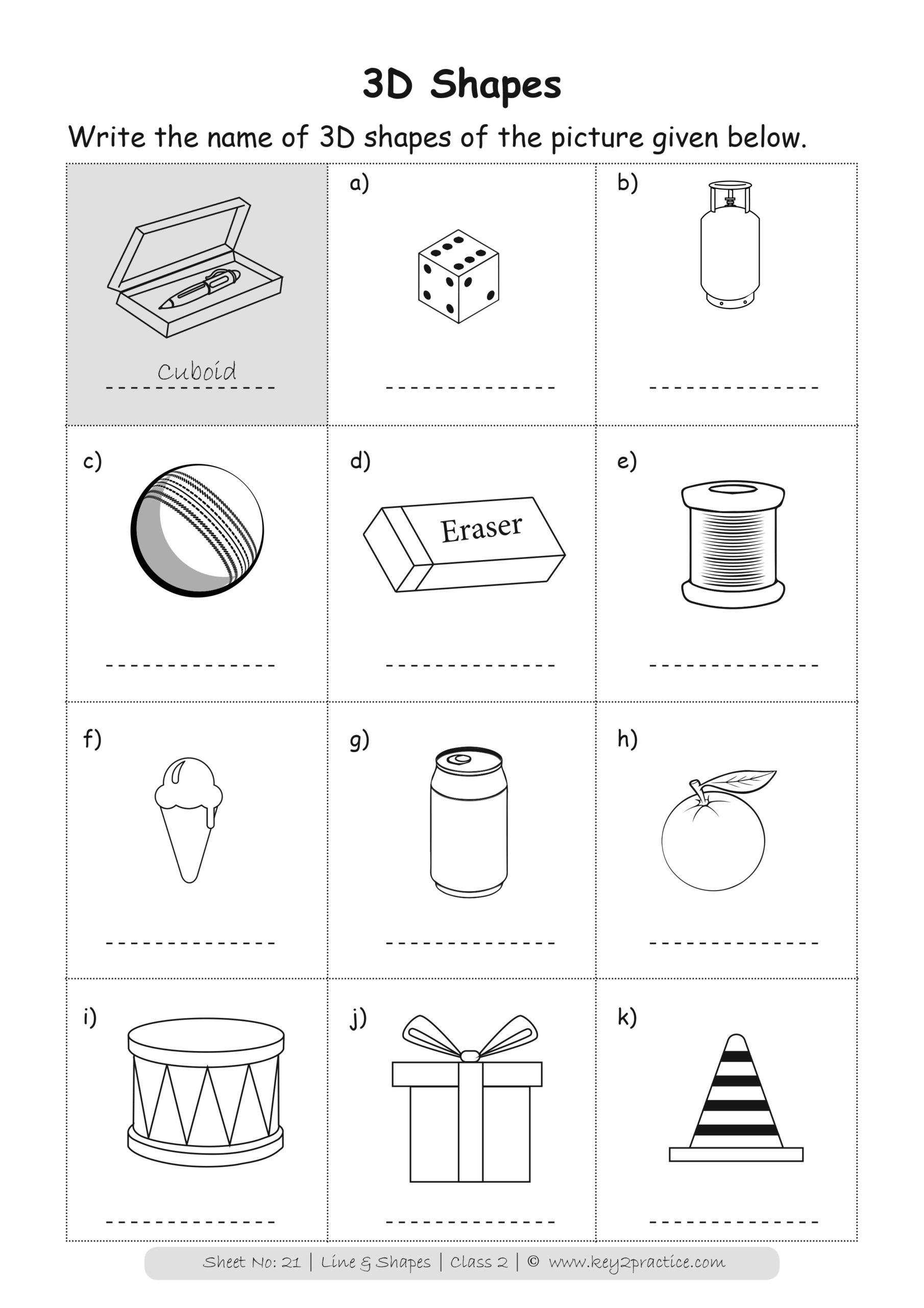Maths Worksheets Grade 2 I Lines Shapes Key2practice Workbooks