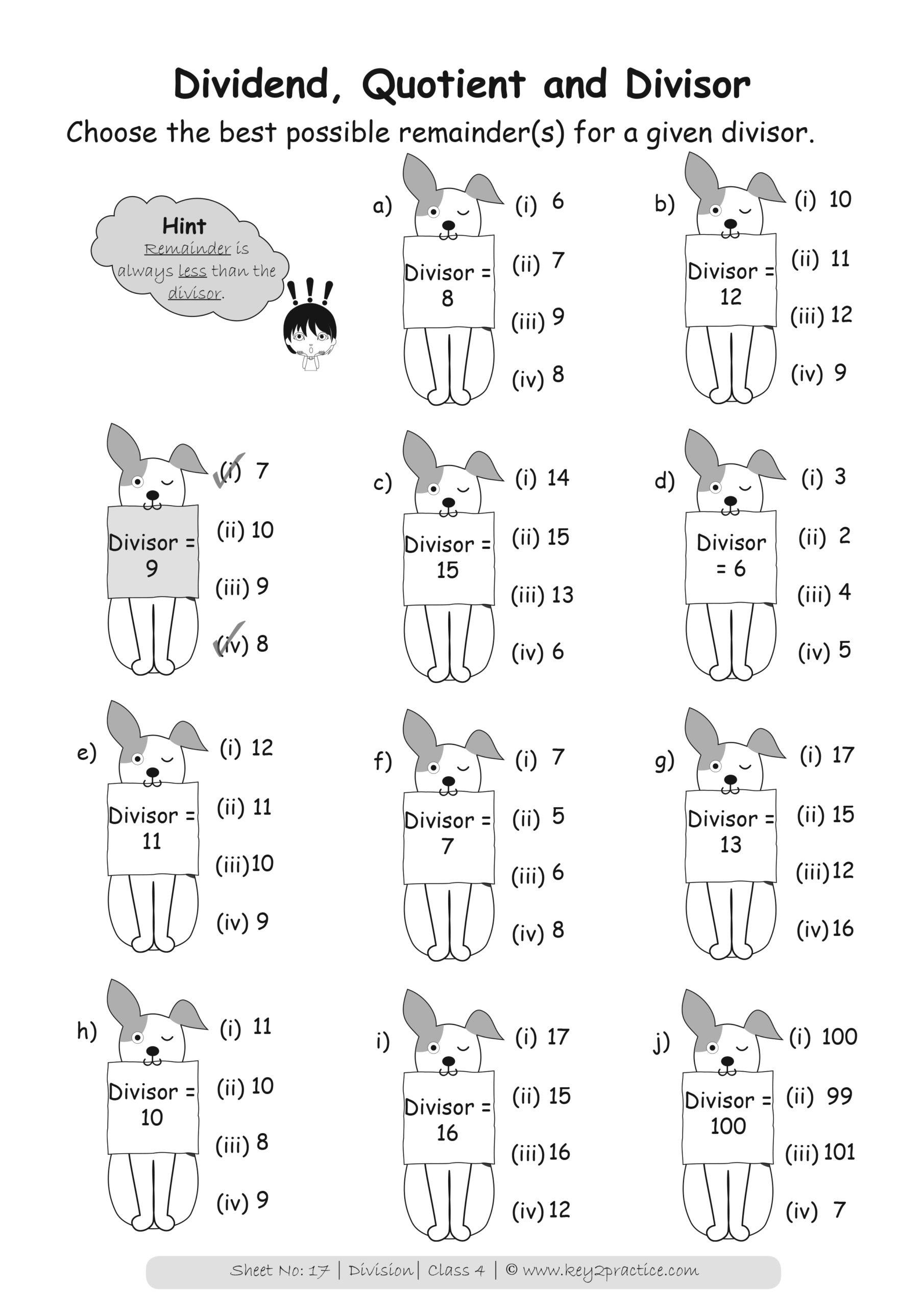 Grade 4 Division Worksheets I Maths   key2practice Workbooks