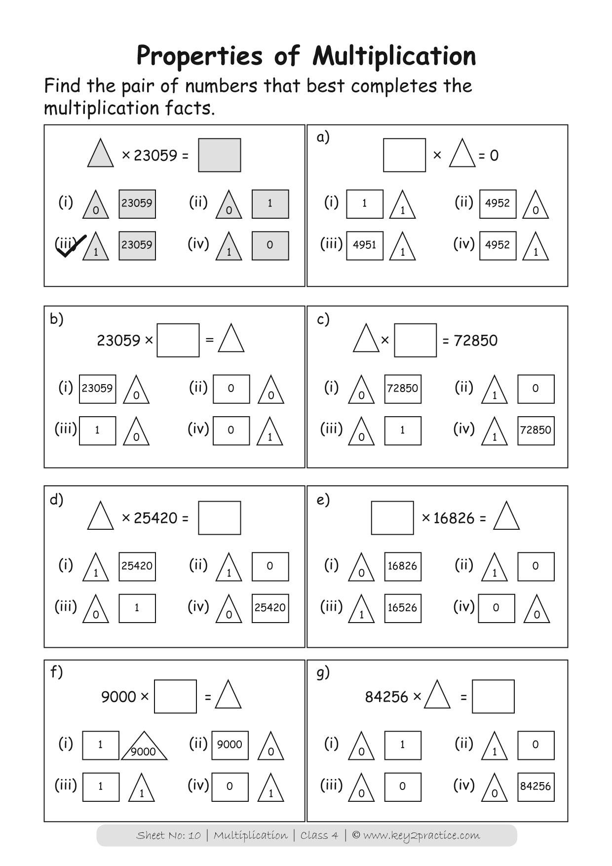 Grade 4 Multiplication worksheets I Maths   key2practice ...