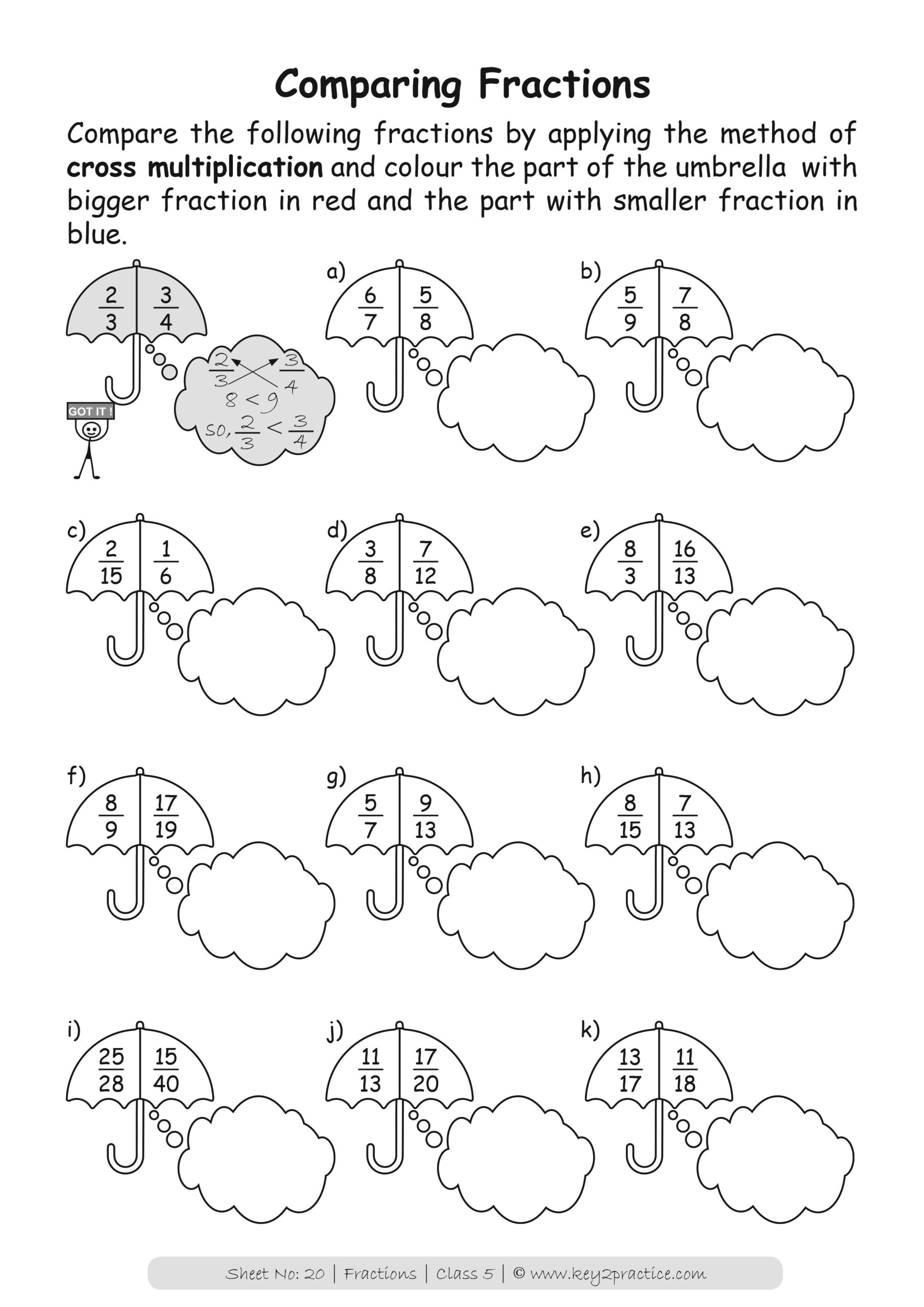 Maths Worksheets Grade 5 Fractions - key2practice Workbooks
