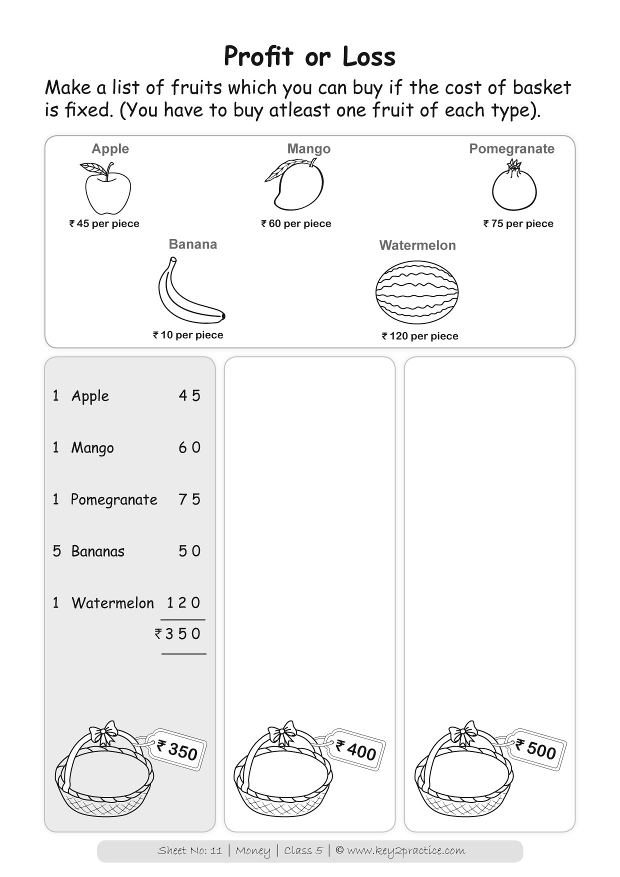 Class 5 Maths Worksheets I Chapter Money   key2practice ...