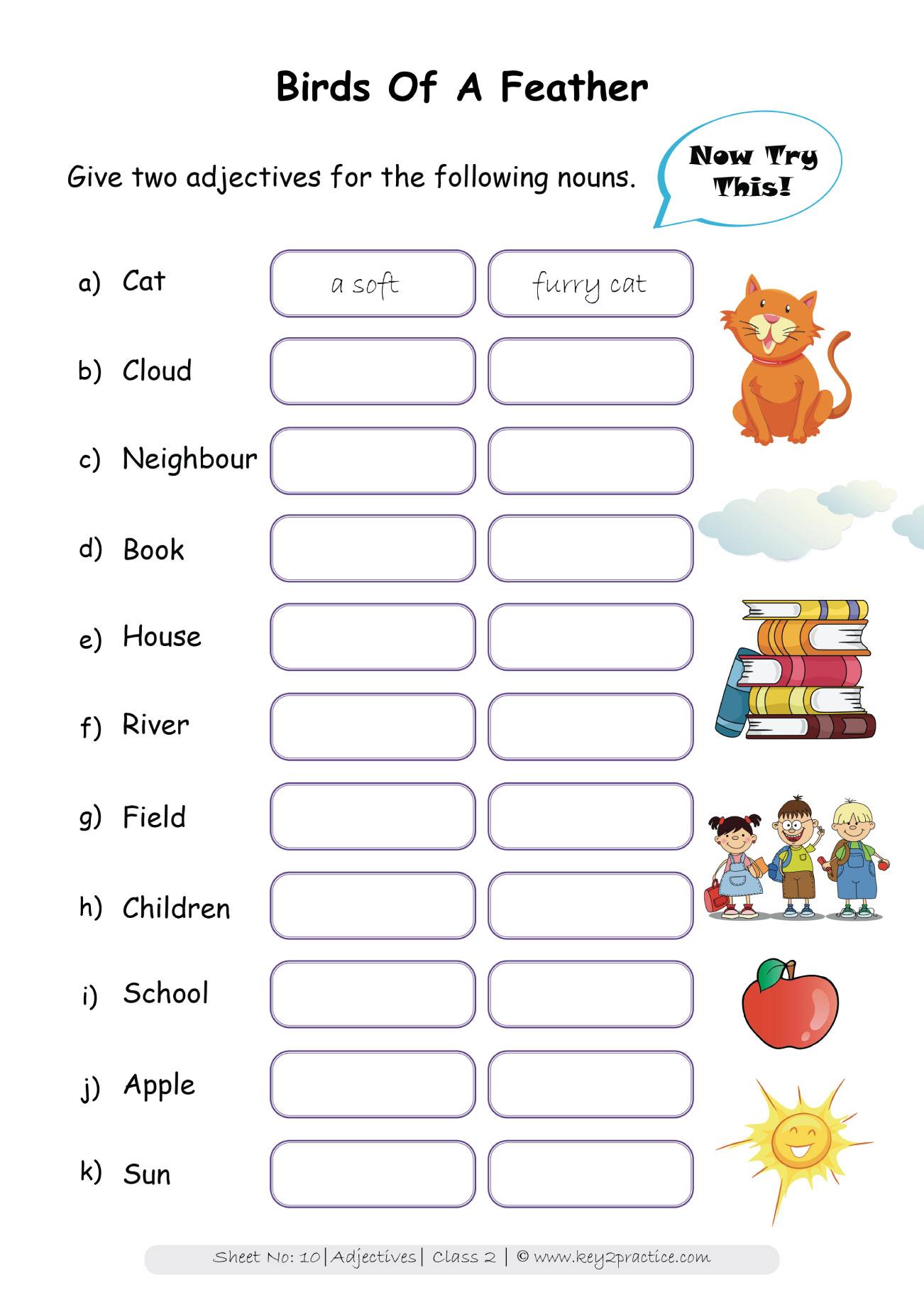Worksheets On Adjectives Grade 2 I English Key2practice Workbooks