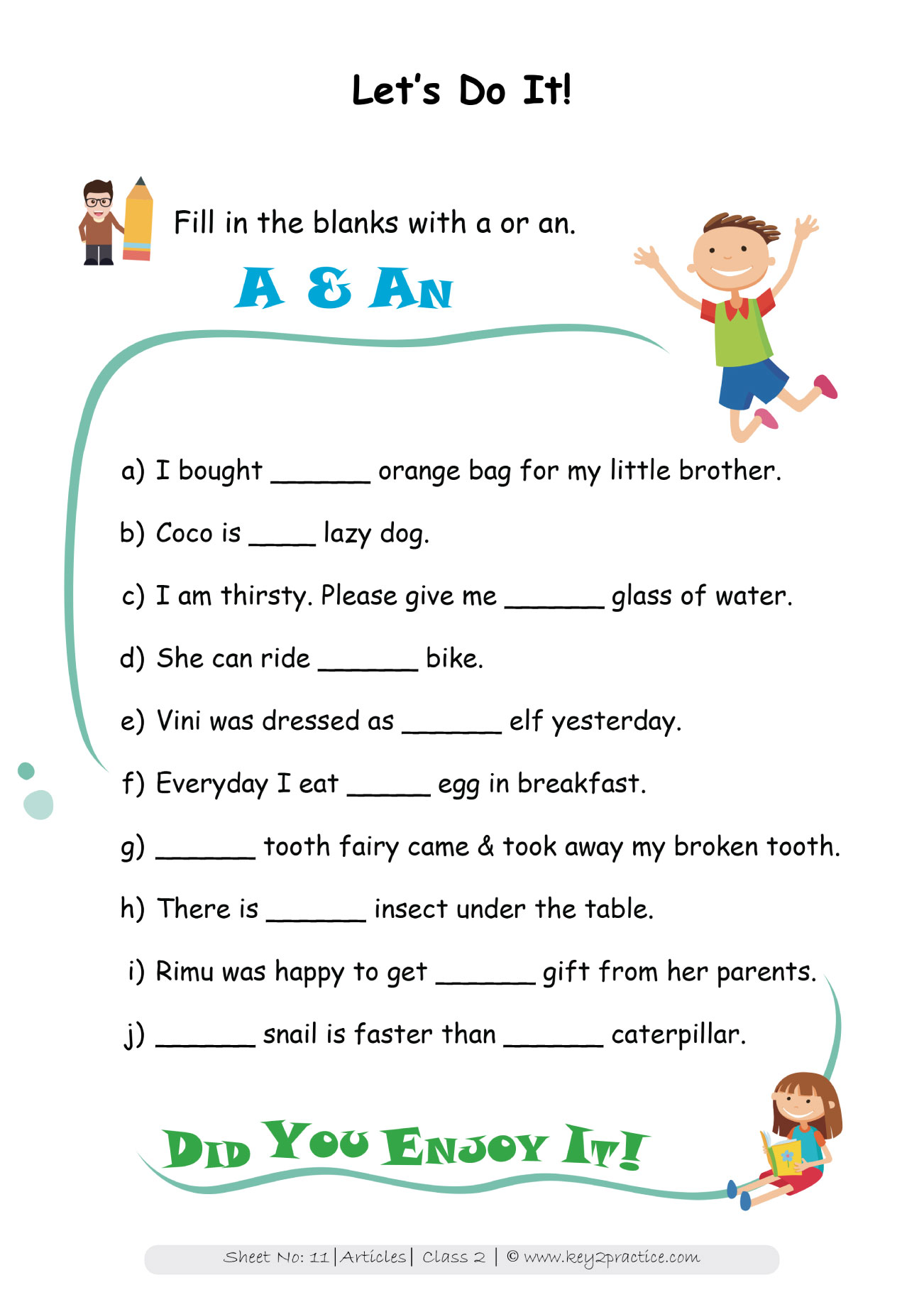 English Grammar Worksheets I Grade 2 Articles Key2practice Workbooks