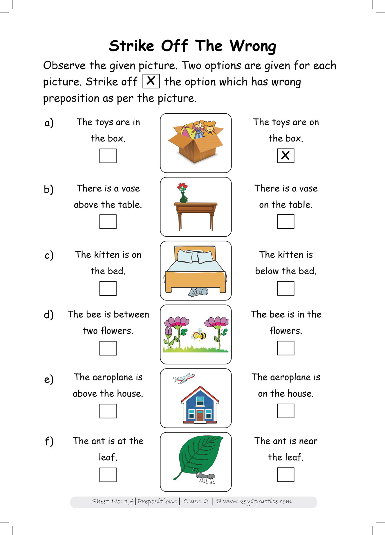 Grade 2 English Worksheets Prepositions Key2practice Workbooks